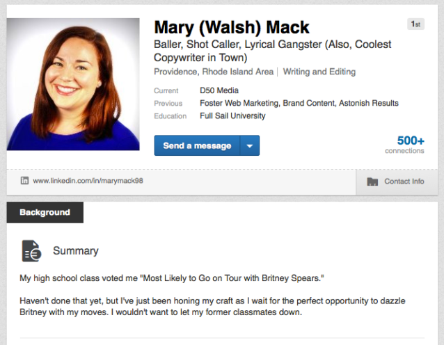 Funny LinkedIn Profile